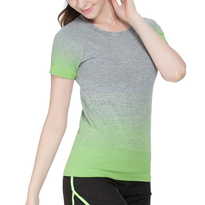 Casual women short sleeve sports t shirt fitness yoga gym for T shirts for gym workout