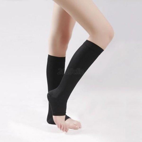 Women-Men-Knee-High-Compression-Socks-Unisex-Open-Toe-Sports-Support-Stockings
