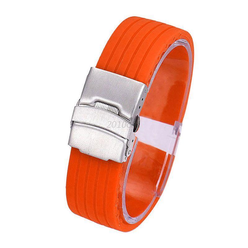 Silicone-Rubber-Watch-Band-Bracelet-Strap-Waterproof-16-24mm-Deployment-Buckle