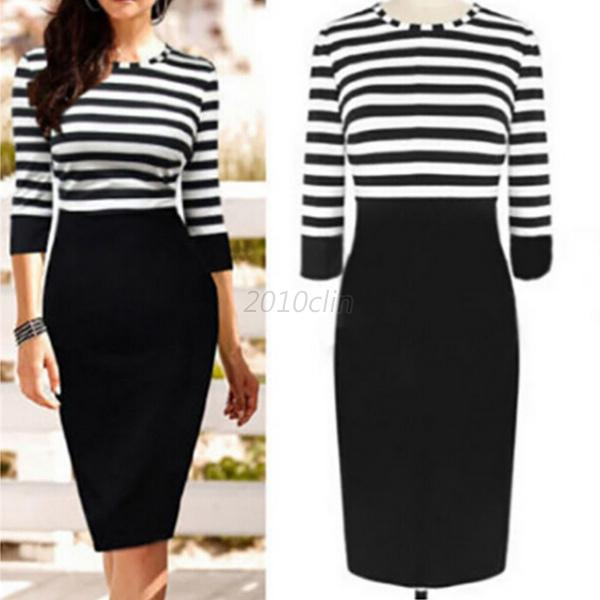 Womens-Striped-Bandage-Bodycon-Club-Lady-Party-Cocktail-OL-Work-Pencil-Dress-C97