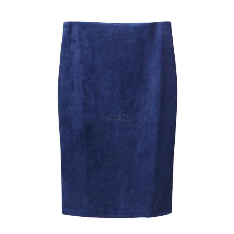 Women-Suede-Pencil-Midi-Skirt-Fashion-Basic-Tube-Slim-Bodycon-Skirt-UK-Seller