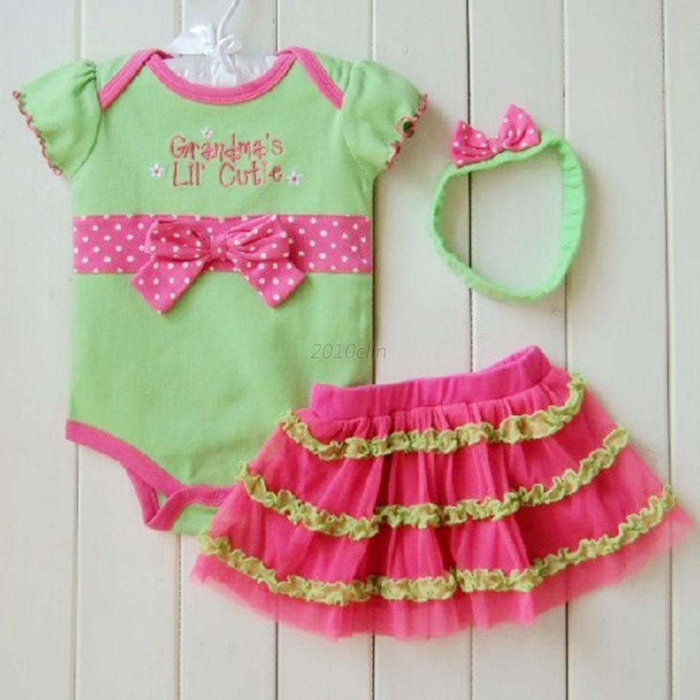 3pcs Newborn Baby Girl Clothes Set Tulle Tutu Dress Romper
