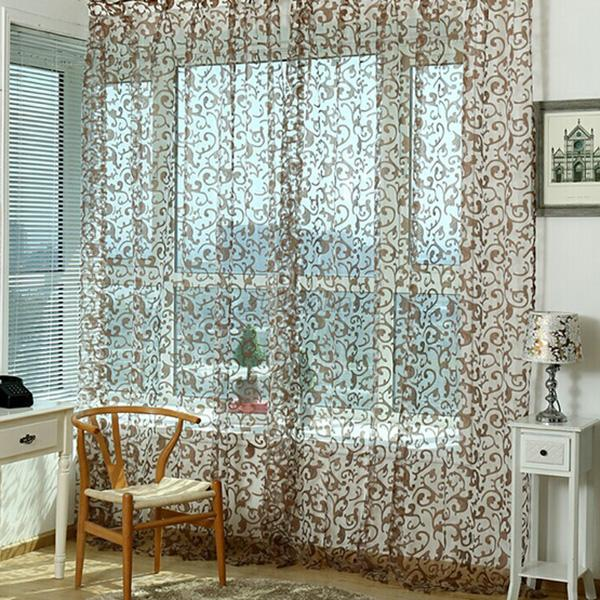 Tulle-Voile-Door-Window-Balcony-Sheer-Panel-Screen-Curtains-Floral-Multi-Colors