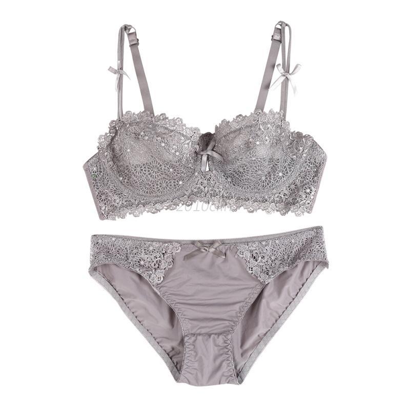 Women-Lace-Bra-Set-Push-up-Side-Support-Plunge-Underwear-Lingerie-Panties-amp-Briefs
