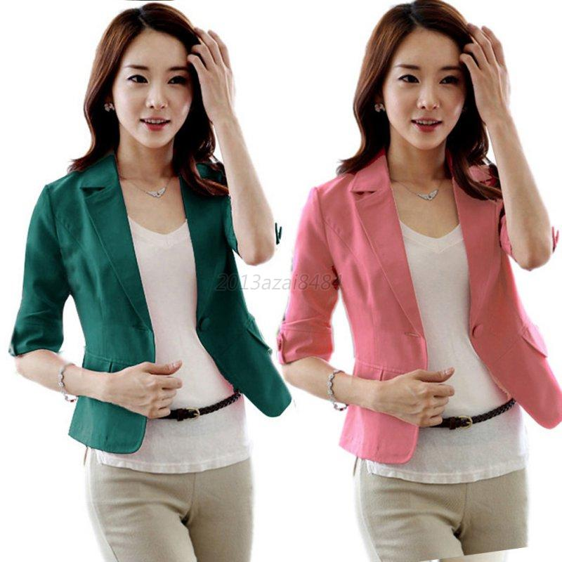 Women Girl Casual Short Blazer Coat 3/4 Sleeve One Button Jacket