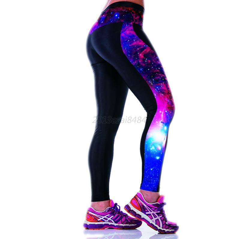 womens exercise sport gym leggings yoga jogging running high waist pants a55 ebay. Black Bedroom Furniture Sets. Home Design Ideas