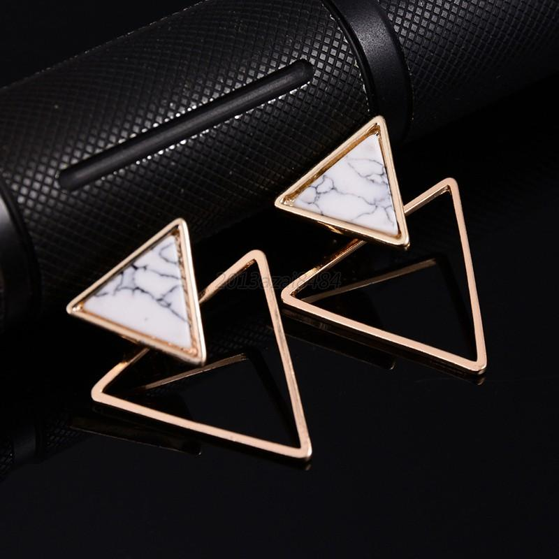 Women Square Triangle Round Geometric Marbled Clip Natural Stone Stud Earrings