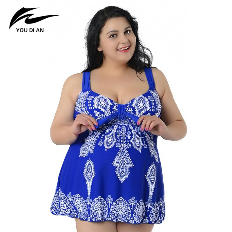 Plus-Size-Sexy-Women-Swimdress-Swimsuit-Floral-Beachwear-Bikini-Swimwear-5Colors
