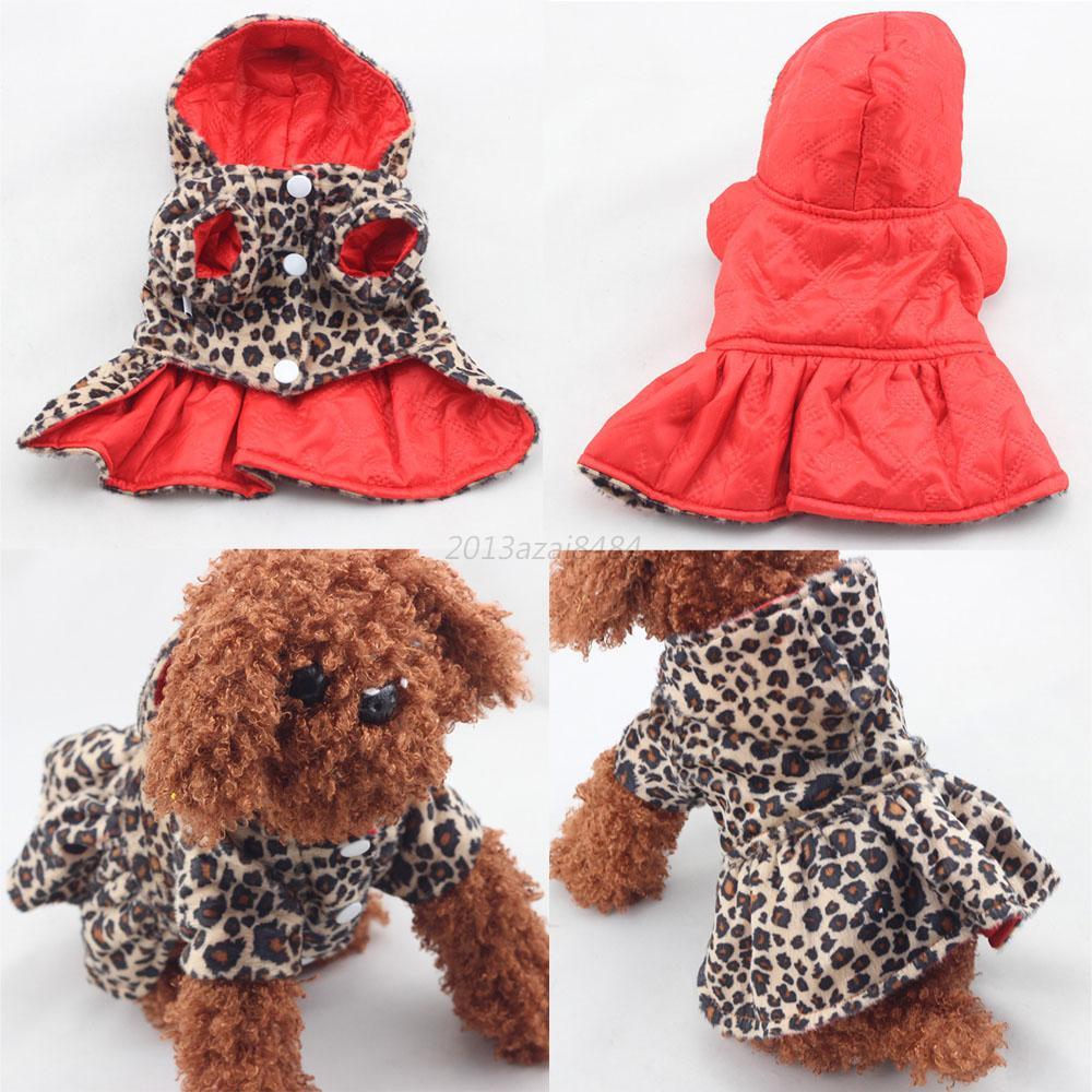 Caliente perro gato mascota cachorro de leopardo ropa de abrigo con capucha