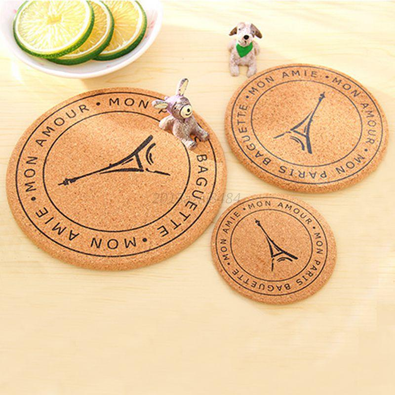 Random Cork Wood Drink Coaster Tea Coffee Cup Pads Table