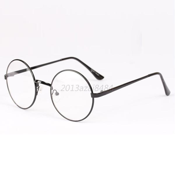 Vintage Style Clear Lens Round Glasses Gold Metal Frame ...