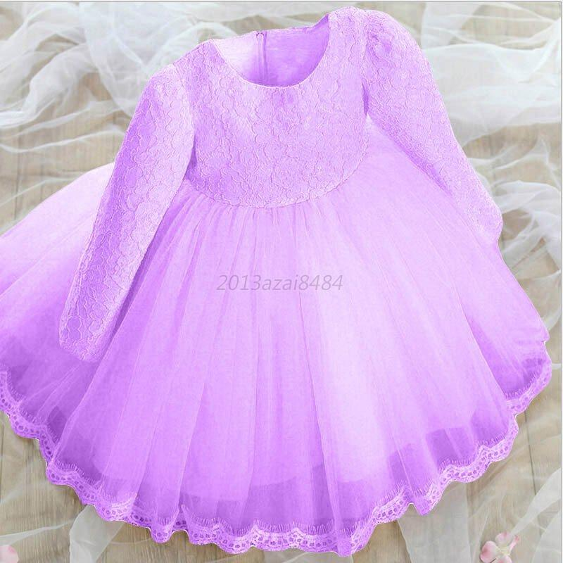 Girls Bridesmaid Dress Kids Baby Flower Party Bow Wedding Dresses ...