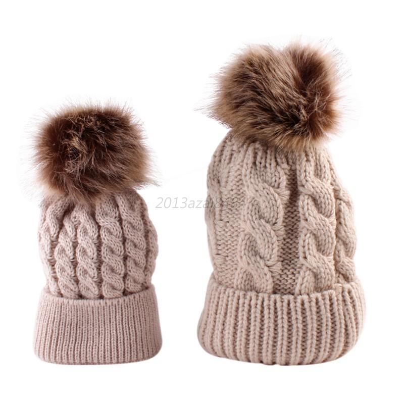 6fd05515f4f ... spain 2pcs mom mother baby knit pom bobble hat 5d758 ea00c