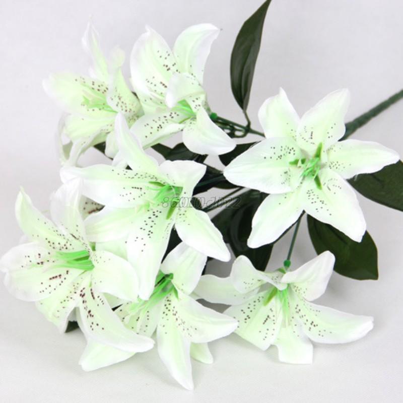 10 Heads Artificial Silk Lilies Flowers Bouquet Craft Home Wedding ...