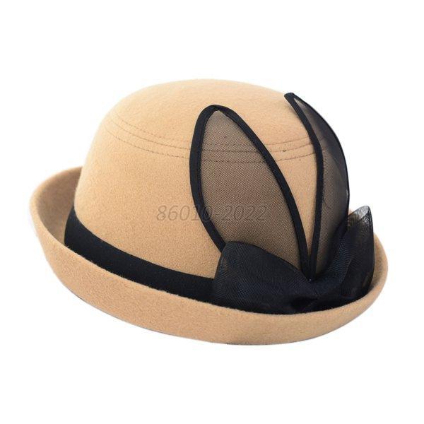 fashion womens wool felt bowler fedora hat rabbit ear