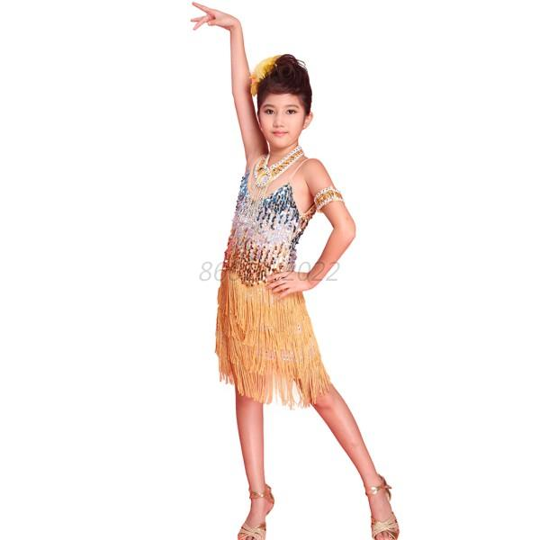 e345f98ece kids Tasseled Latin Dancewear Dress Girls Party Dance Sequined