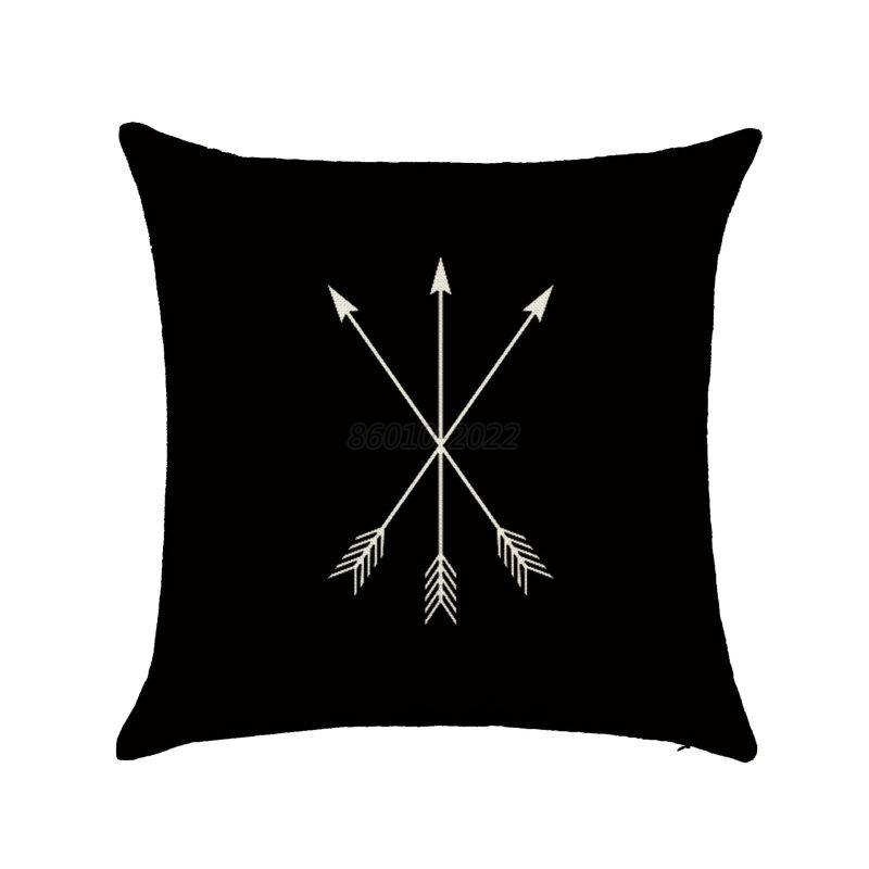 Black Cotton Throw Pillows : Black & White Cotton Linen Throw Cushion Cover Pillow Case Home Sofa Car Decor