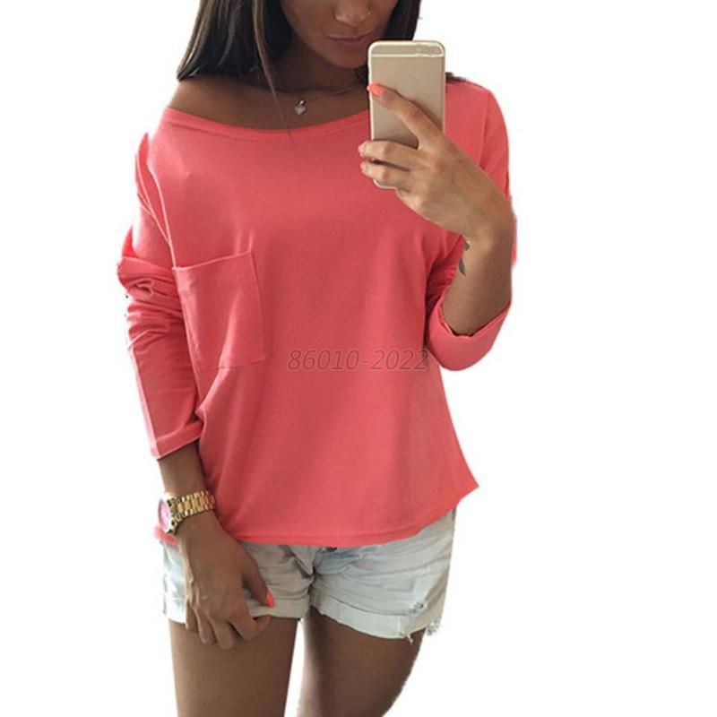 fashion women 39 s off one shoulder blouse long sleeve tee shirt pocket loose tops ebay. Black Bedroom Furniture Sets. Home Design Ideas