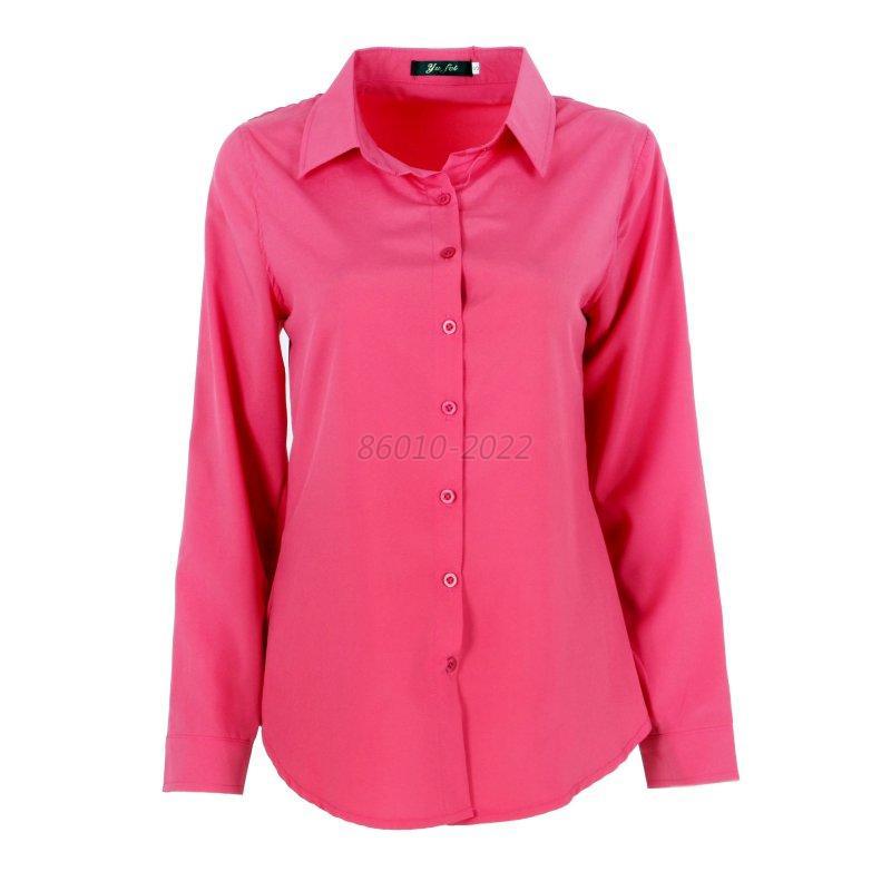 Women Solid Slim Fit Blouse Long Sleeve Lapel Button Shirt ...