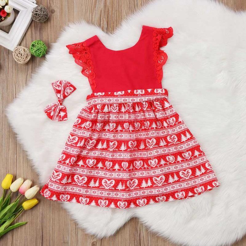 Fashion-Christmas-Baby-Princess-Girls-Toddler-Kids-Lace-Headband-Romper-Dresses