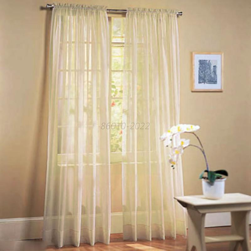 Hot Solid Sheer Curtain Window Curtains Bedroom Voile Drape Panel Sheer Curtains Ebay