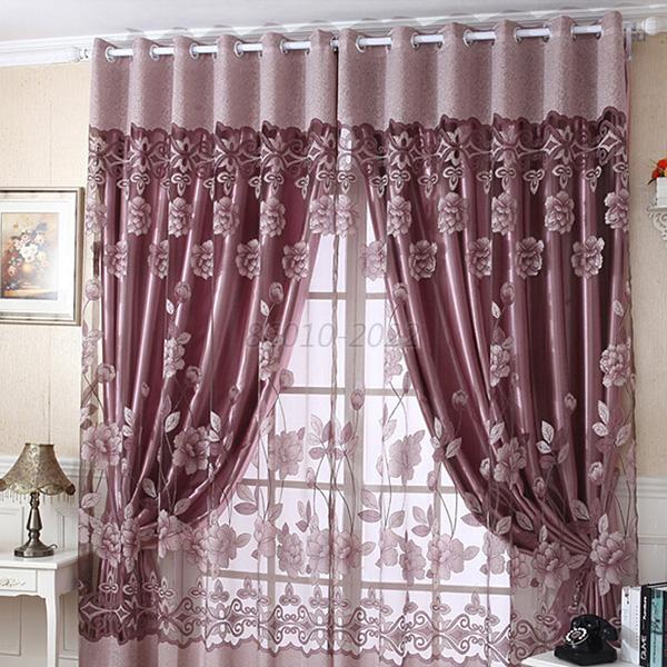 Flower Tulle Door Window Curtain Drape Panel Sheer Scarf
