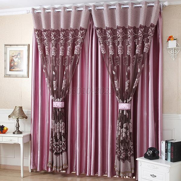 Flower Tulle Door Window Curtain Drape Panel Sheer Scarf
