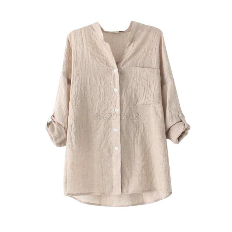 Womens blouse long sleeve tops sheer ladies cotton linen for Linen women s shirt