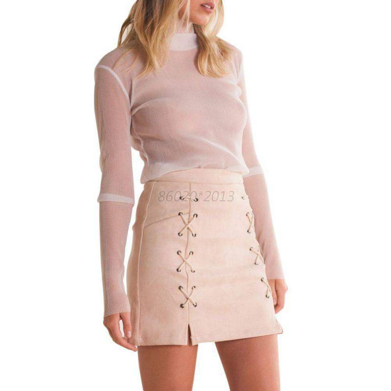 lace up leather suede skirt cross high waist