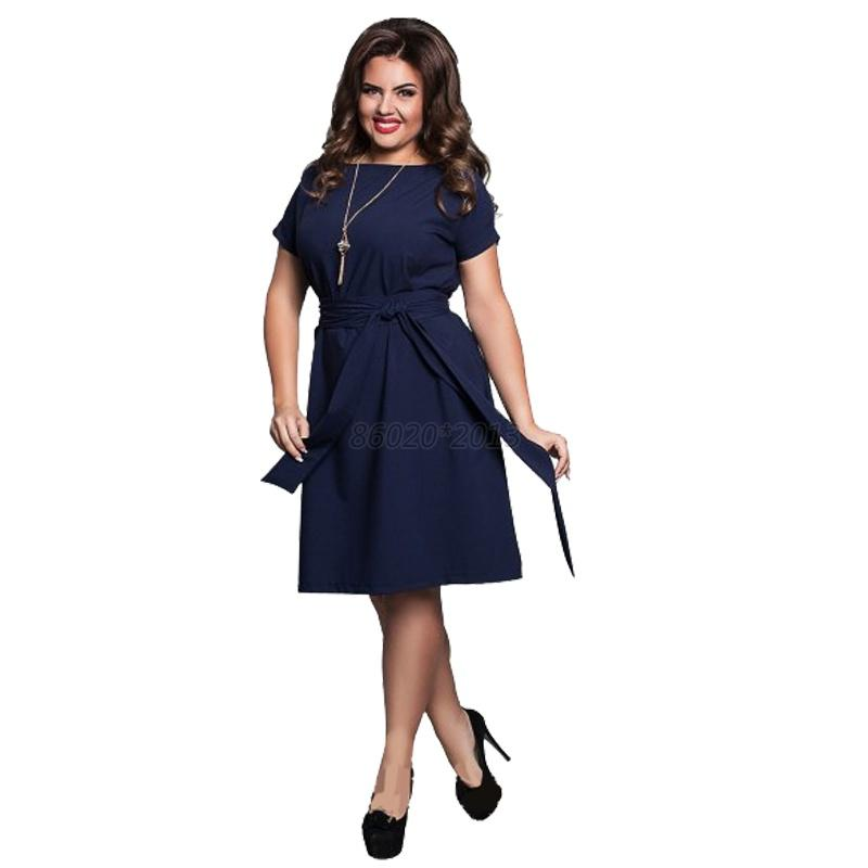 AU-Summer-Plus-Size-6XL-Women-Solid-Dress-Evening-Party-Cocktail-Dress-with-Belt
