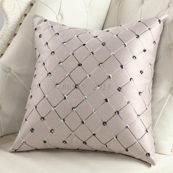 Elegant plaid throw pillow case home bed sofa decorative for Decorative bed pillow case