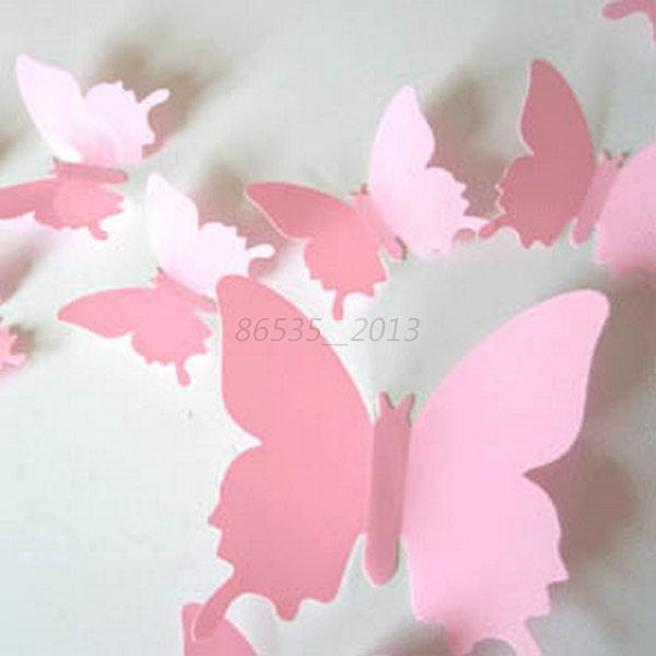 12 pcs 3d butterfly wall stickers docors art diy for 3d wall butterfly decoration
