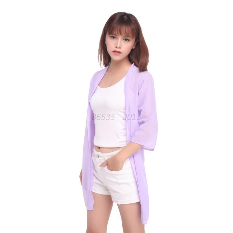 Summer Women Sun Protection Sunscreen Anti-UV T-shirt Beach Cardigan BlouseTops