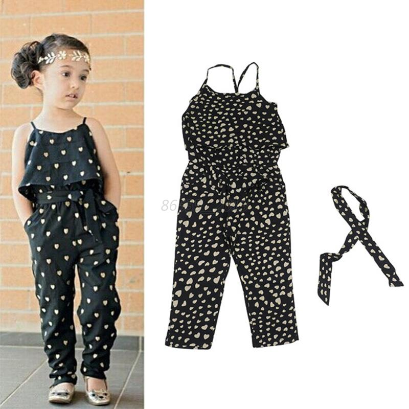 Cute Kids Baby Girls Strap Romper Belt Jumpsuit Pants Bodysuit Clothes Outfits | EBay