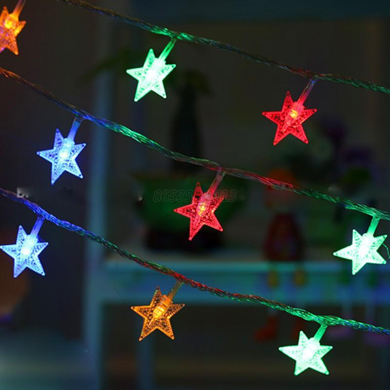 String Of Led Star Lights : Christmas LED Star String Fairy Lights Wedding Party Battery Operated Decoration