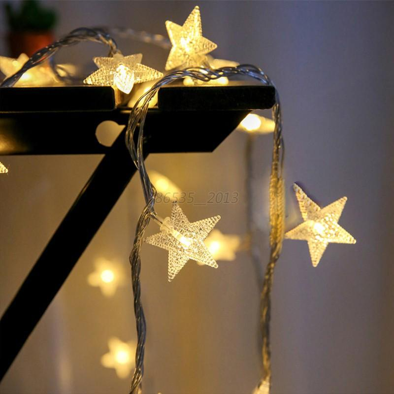 String Lights With Battery: Christmas LED Star String Fairy Lights Wedding Party