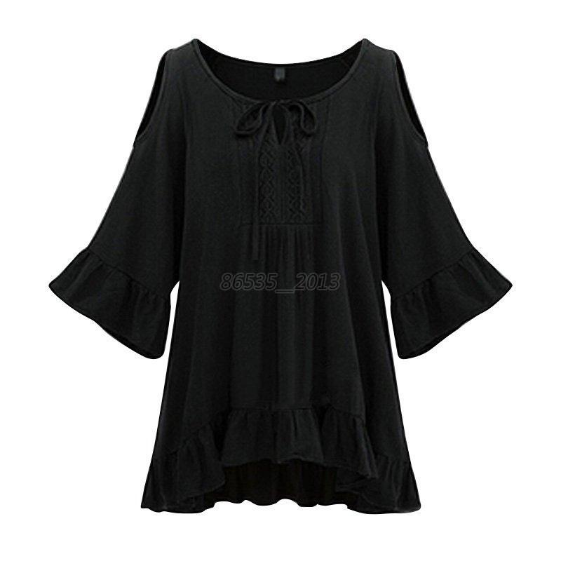 Women-039-s-Plus-Size-Loose-Tops-Blouse-Ruffle-Hem-Sleeve-Off-Shoulder-Tunic-T-Shirt