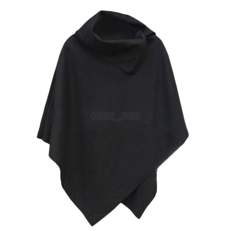 Women-Winter-Warm-Coat-Jacket-Batwing-Wool-Poncho-Parka-Loose-Cloak-Cape-US