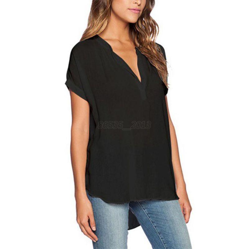 women casual chiffon loose shirts top blouse short sleeve t