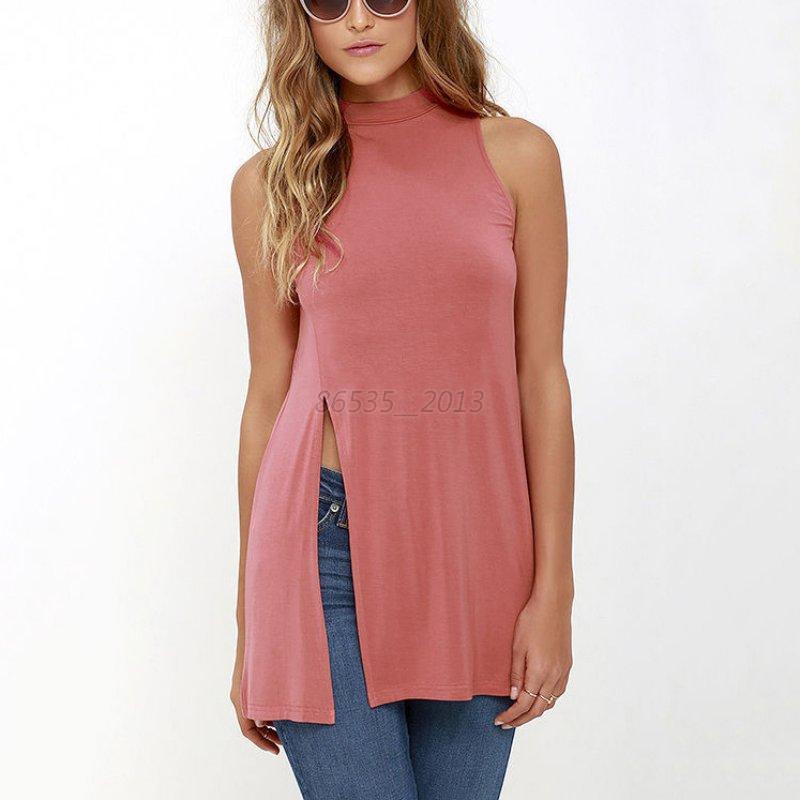 Women Summer Sleeveless Vest Long Shirt Dress Casual Tank