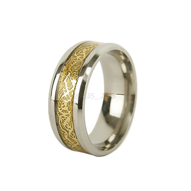 Men 39 S Gold Silver Dragon Stainless Steel Size 5 13 Wedding Rings Cool Ban