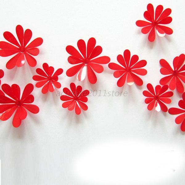 12pcs 3D Butterfly Mirror Flowers Sticker Room Wall
