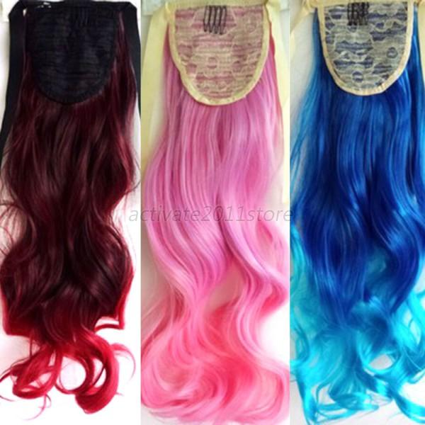Colorful Hair Clip On Hairpieces Clip In Ombre Hair Extensions Long