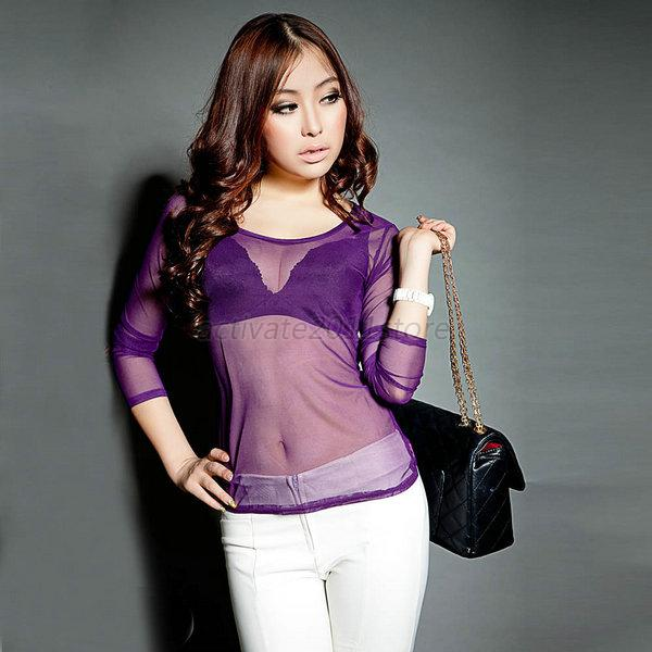 Casual Womens Transparent Mesh Sheer Round Neck T-Shirt Long ...