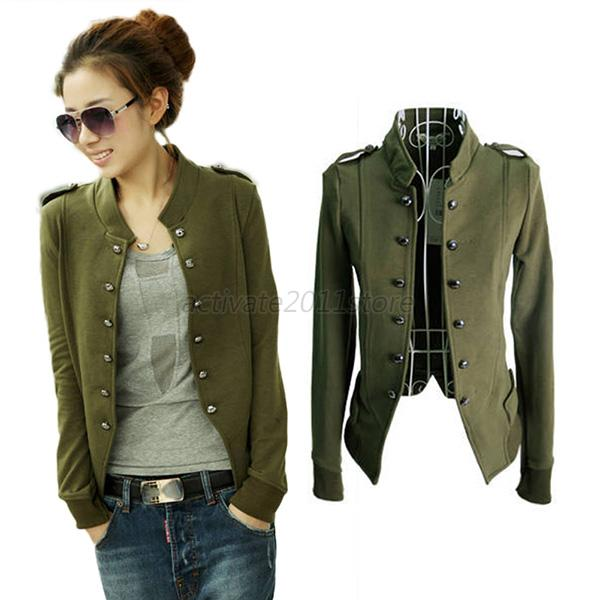 Fashion Womens Ladies Jacket Military Short Jacket Double Breasted ...