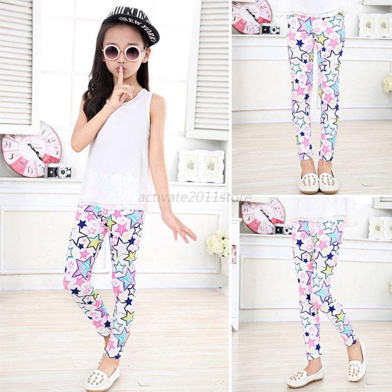 Girls New Styles Printed Stretch Leggings Kids Full Length Trousers Teen 2-14 Y