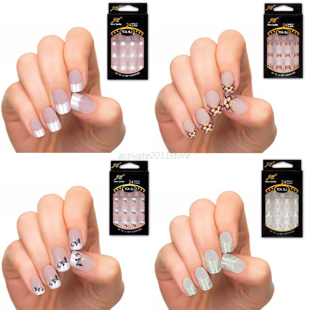 Diy Natural Nail Art : Diy manicure acrylic uv gel natural nail tips full french