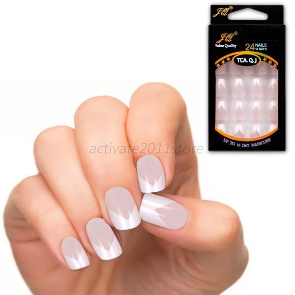 Artificial Nail Tips: DIY Manicure Acrylic UV Gel Natural Nail Tips Full French