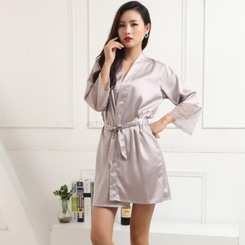 US Lady Satin Silk Lace Sleepwear Robe Pyjama Night Gown Multi-Color ...