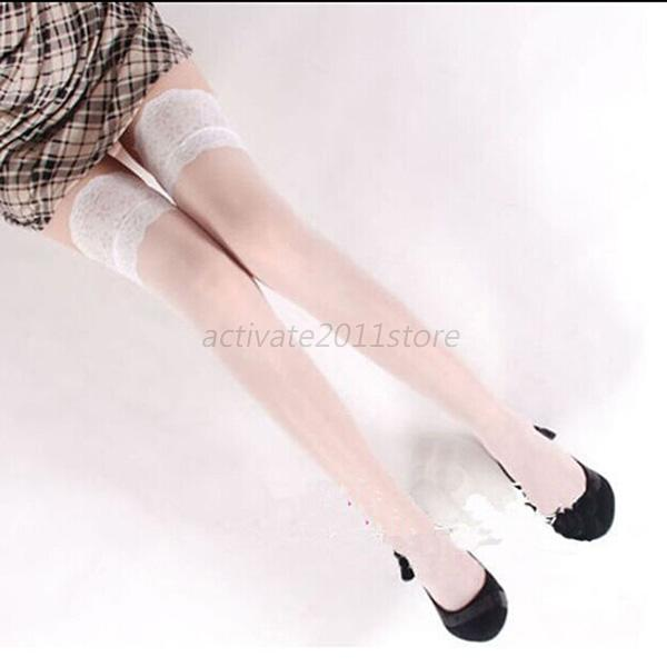 Sexy-Lady-Women-Lace-High-Top-Silicone-Band-Stay-Thigh-Pantyhose-Stockings-Hot